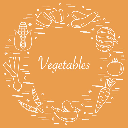 Cute vector illustration of different autumn seasonal vegetables arranged in a circle. Pumpkin, onion, eggplants and other fall vegetables for announcement, advertisement, banner or print. Illustration