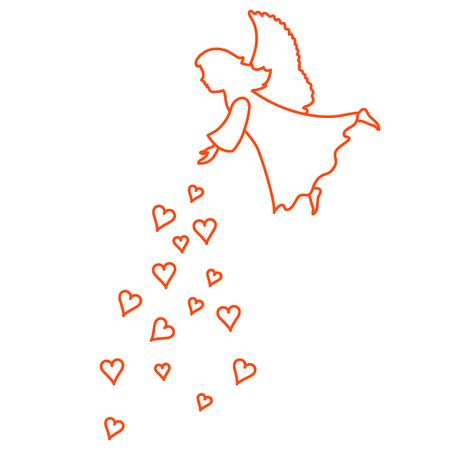 Cute vector illustration: angel showered hearts. Love symbol. Design for banner, flyer, poster or print.