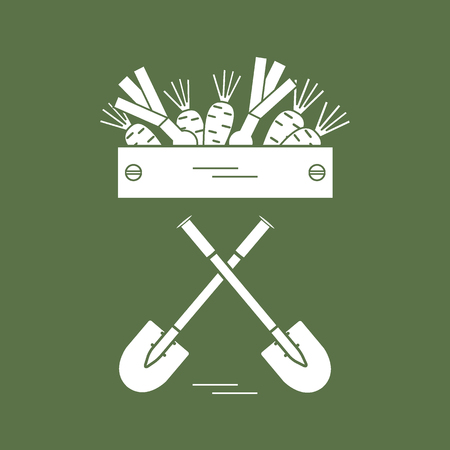 Cute vector illustration of harvest: two shovels, box of carrots and onion. Design for banner, poster or print. Illustration