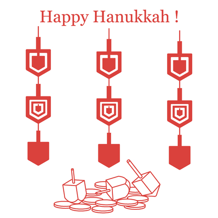 Jewish holiday Hanukkah: dreidel, sivivon, coins and paper garland. Design for postcard, banner, poster or print.