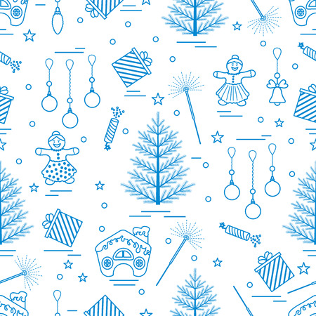 Winter seamless pattern with variety Christmas elements:  tree, balls, petard, sparkler, gingerbread man and house, bell, gifts, stars. Design for banner, poster or print.