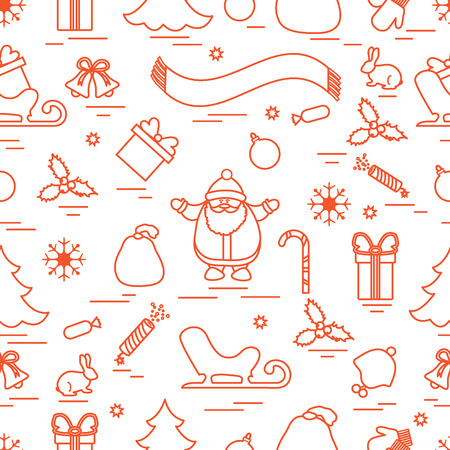Winter seamless pattern with variety Christmas elements:  tree, balls, petard, scarf, Santa Claus, bell, gifts and other. Design for banner, poster or print. Illustration
