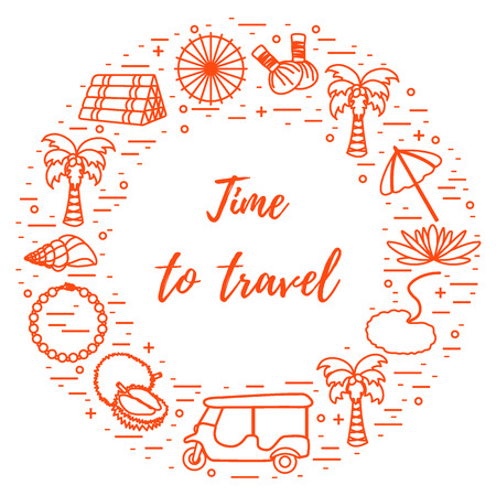 Vacation and travel elements arranged in a circle. Palm tree, lily, tuk-tuk, durian, pearl necklace, herbal pouches for massage, pillow.