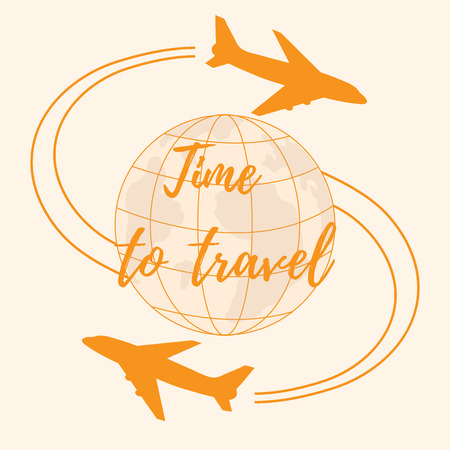 fly around: Cute vector illustration of aircraft flying around the globe. Design for poster or print.