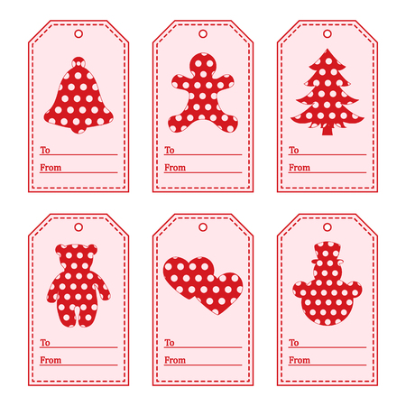 Gift tags with new year and christmas symbols with polka-dots and ribbon. Design for postcard, banner, poster or print.