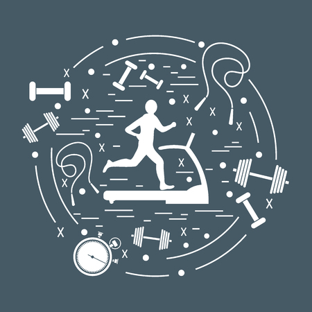 jog: Vector illustration of the man jogging on a treadmill and different kinds of sports equipment arranged in a circle. Including icons of skipping rope, stopwatch, dumbbells and other.