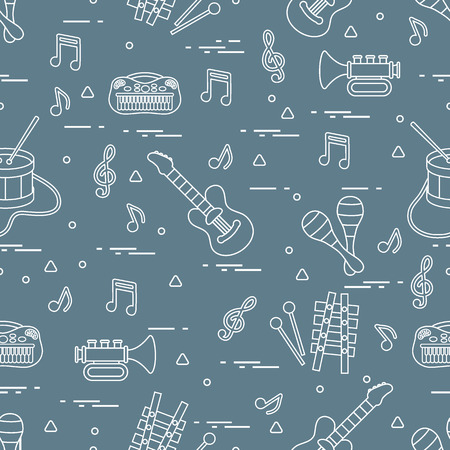 Vector pattern of music sheet and different musical toys: guitar, drum, trumpet, xylophone, maracas and other. Design for postcard, banner, flyer, poster or print.