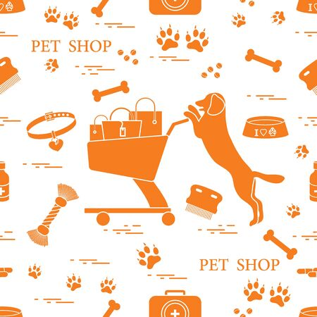 Seamless pattern: dog, bowl, shopping cart with gift bags, traces, bone, brush, collar, first aid kit. Health care, vet, nutrition, exhibition.