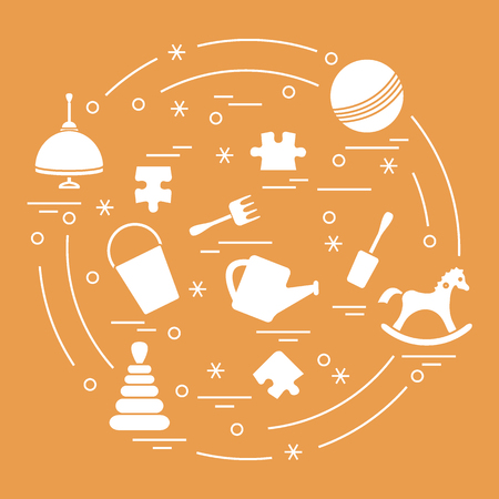 Vector illustration kids elements arranged in a circle: whirligig, ball, puzzle, rocking horse,  bucket, pyramid and other. Design element for postcard, banner, flyer, poster or print. Illustration