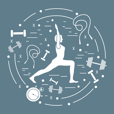 Illustration of woman yoga pose and different sports equipment. Healthy lifestyle design for banner and print. Illustration