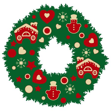Christmas wreath with stars, hearts, snowmen, snow-covered houses with a pipe. New Year and Christmas symbols.