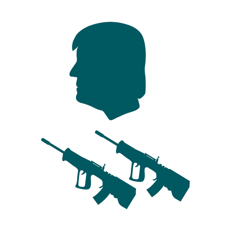 politicians: Men and rifles. Design for banner and print.