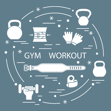 Gym workout elements arranged in a circle