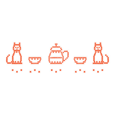 thermal: Cute vector illustration cross embroidery of teapot with two cups and two cats. Design for banner, poster or print.