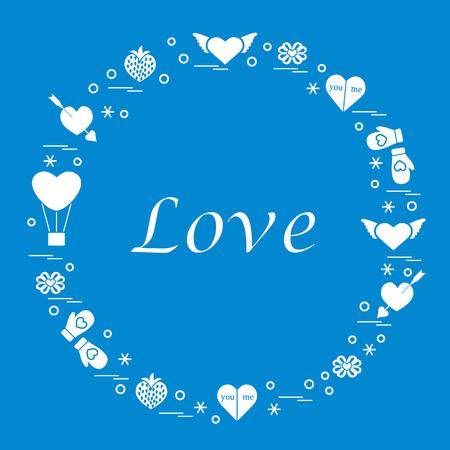 Different romantic symbols arranged in a circle Illustration