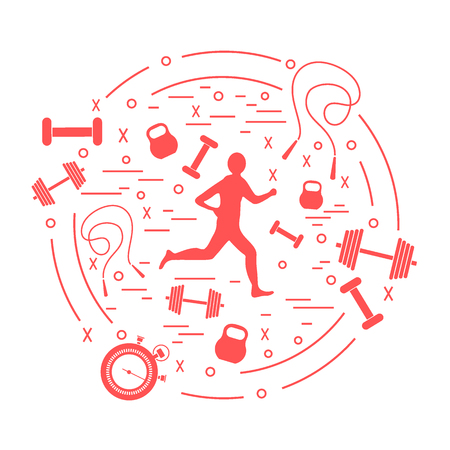 Vector illustration of the jogging man and different kinds of sports equipment arranged in a circle. Including icons of skipping rope, stopwatch, dumbbells and other. Illustration