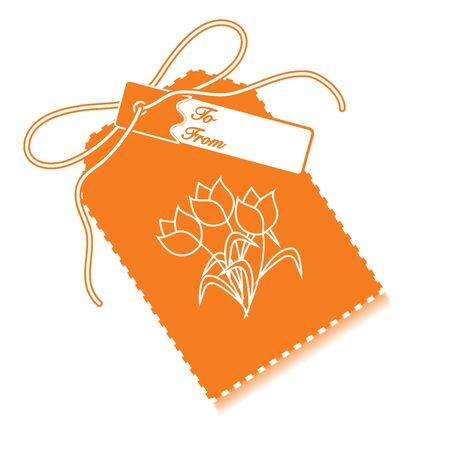sell: Gift tag with bouquet of flowers and ribbon. Sale and shopping concept. Design for postcard, banner, poster or print. Illustration