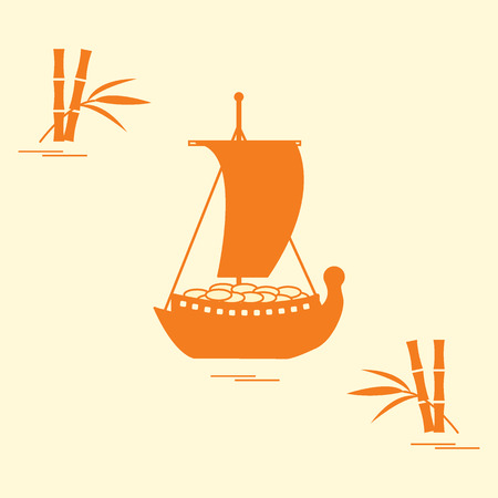 ritual: Japanese treasure ship - traditional talismans and New Years souvenirs. Festive traditions of different countries. Illustration