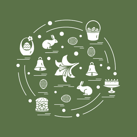 Cute vector illustration with different symbols for Easter arranged in a circle. Including icons of simnel cake, lily, baskets, eggs and other. Design for banner, poster or print.