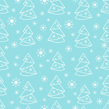 Winter seamless pattern with Christmas tree in origami form and snowflakes. Design for postcard, banner, flyer, poster or print.