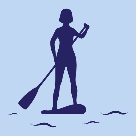 Female silhouette on stand up paddle board. SUP. Template for your design, banner, poster or print.