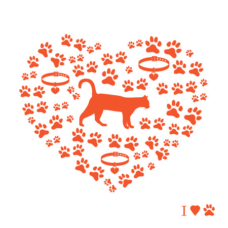 Silhouette walking cat inside the heart from tracks and collars. Health care, vet, nutrition, exhibition. Design for banner, poster or print.