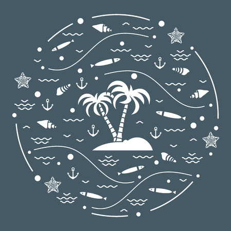 Cute vector illustration with fish, island with palm trees, anchor, waves, seashells, starfish,  arranged in a circle. Design for banner, poster or print. Illustration