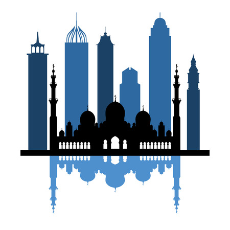 Vector illustration of United Arab Emirates skyscrapers silhouette. Dubai and Abu dhabi buildings. Design for banner, poster or print. Illustration