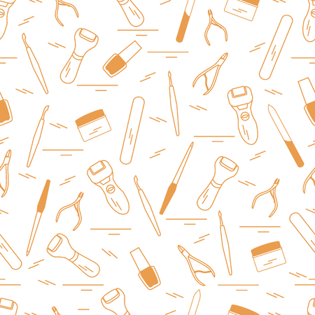 Seamless pattern with variety tools for manicure and pedicure. Personal care. Design for banner, poster or print.