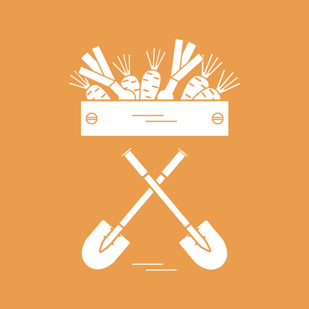 wood crate: Cute vector illustration of harvest: two shovels, box of carrots and onion. Design for banner, poster or print. Illustration