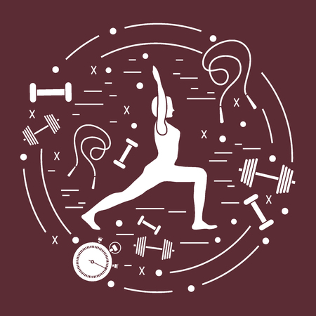 Illustration of woman yoga pose and different sports equipment. Healthy lifestyle.Design for banner and print.