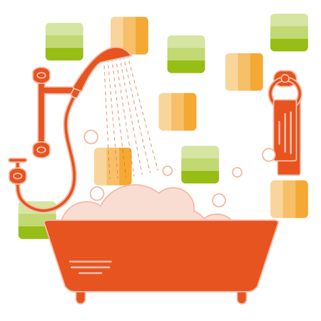 Cute vector illustration of variety bathroom elements: shower, bath with foam, soap bubbles,  towel hanging on holders, bathroom tiles. Design for poster or print.