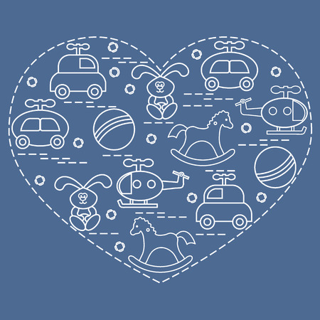 Cute vector illustration kids elements arranged in a heart shape: cars, rabbits, balls, helicopters, rocking horses. Design element for postcard, banner, poster or print.
