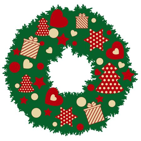 Christmas wreath with polka dot Christmas trees and stars, gift boxes in stripes and hearts. New Year and Christmas symbols.