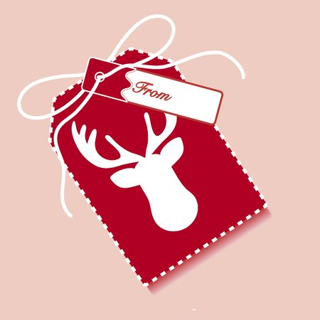 New year and christmas gift tag with cartoon character deer and ribbon. Design for postcard, banner, poster or print.