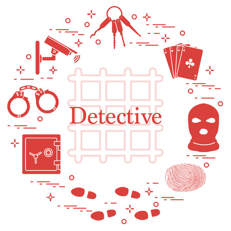 Criminal and detective elements. Crime, law and justice vector icons. Design for announcement, print. Illustration