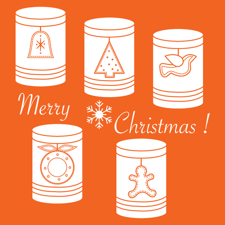 Jars for different products with Christmas and New Year tags: сhristmas tree, bell, bird, сhristmas wreath, gingerbread man.