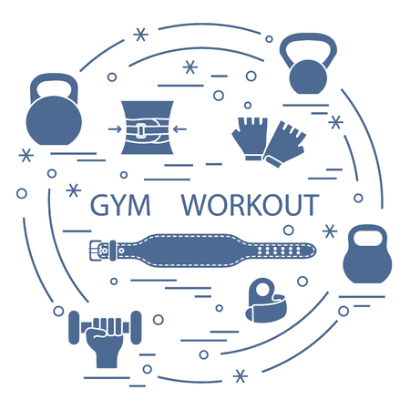 Powerlifting gym workout elements arranged in a circle. Bodybuilding exercises equipment and things. Illustration