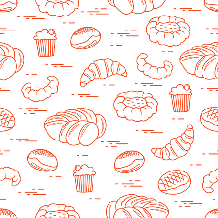 Pattern of different bakery products (bun, cheesecake, cupcake, croissant and other). Design for pastry shop, supermarket, bakery. Illustration