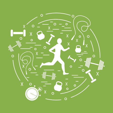 Vector illustration of the jogging man and different kinds of sports equipment arranged in a circle. Including icons of skipping rope, stopwatch, dumbbells and other. Stock Illustratie