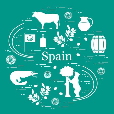 corrida de toros: Ilustración vectorial con varios símbolos de España dispuestos en un círculo. Viajes y ocio. Diseñe para la bandera, el cartel o la impresión.