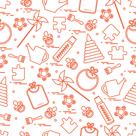 Modelo inconsútil lindo con las mercancías y los juguetes de los niños de la variedad: baberos, pinwheel, biberones, maniquí, pirámide y otro. Diseño para el cartel o la impresión. Foto de archivo - 89042451