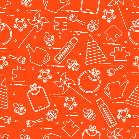 Cute seamless pattern of childrens elements.
