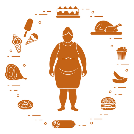 Fat woman with unhealthy lifestyle icons around her.