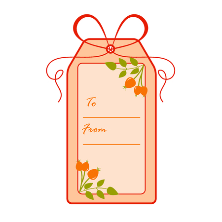 Gift tag with branches of rosehip.