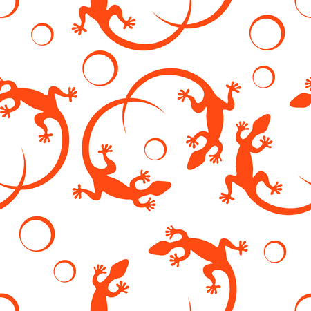 Cute seamless pattern with lizards and circles.