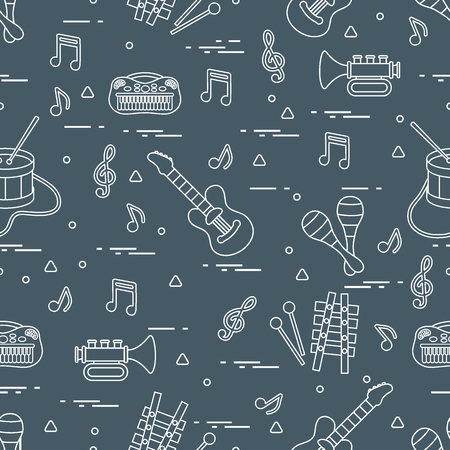 A Vector pattern of sheet music and different musical toys: guitar, drum, trumpet, xylophone, maracas and other. Design for postcard, banner, flyer, poster or print.
