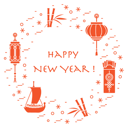 legends: New year symbols: japanese treasure ship, bamboo, chinese lanterns and red envelopes of money arranged in a circle. Festive traditions of different countries.