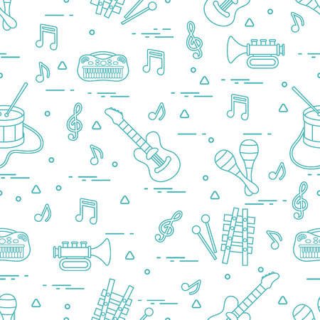 Vector pattern of sheet music and different musical toys: guitar, drum, trumpet, xylophone, maracas and other. Design for postcard, banner, flyer, poster or print.