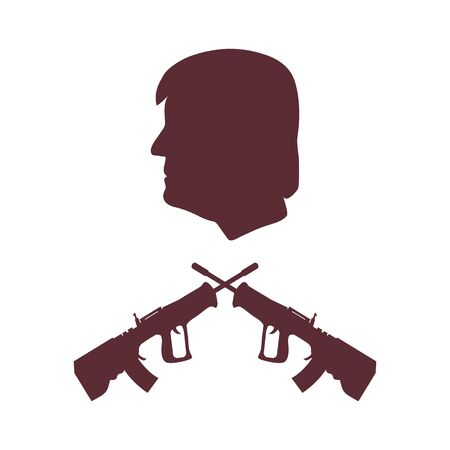 President Donald Trump and rifles. Design for banner and print. Illustration